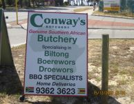 2005 Conways Butchery road sign 2
